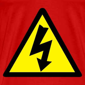 Red Electricity Warning Tops - Men's Premium T-Shirt