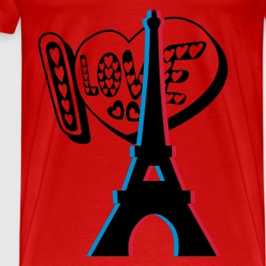 3D I LOVE Paris Eiffel Tower Anaglyph, 3d women top - Men's Premium T-Shirt