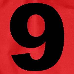 Red number - 9 - nine Tops - Drawstring Bag