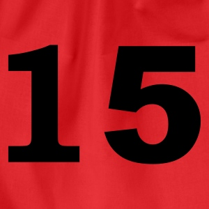 Red number - 15 - fifteen Tops - Drawstring Bag