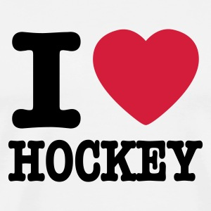 White i love hockey Men's T-Shirts - Men's Premium T-Shirt