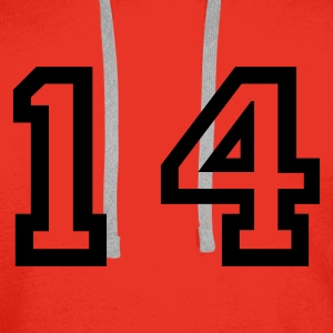 Red number - 14 - fourteen Tops - Men's Premium Hoodie