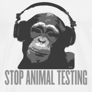 White DJ MONKEY stop animal testing by wam Tops - Men's Premium T-Shirt