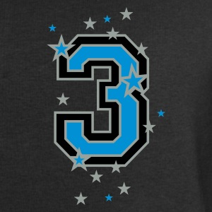 Black The number 3 and stars Tops - Men's Sweatshirt by Stanley & Stella