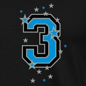 Black The number 3 and stars Tops - Men's Premium T-Shirt