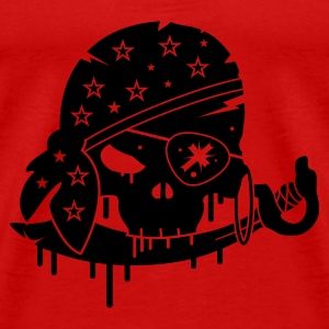 Red Pirate skull with sword and eye patch Tops - Men's Premium T-Shirt