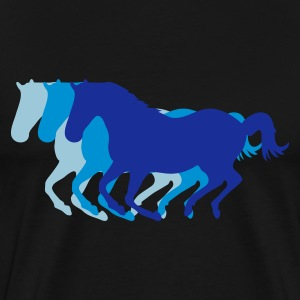 Black Three horses at a gallop - Horse riding - dressage horses riding horse race Tops - Men's Premium T-Shirt