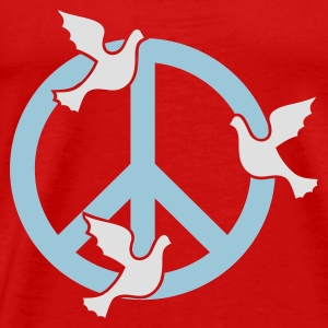 Red Frieden mit Tauben / peace 'n doves (2c) Tops - Men's Premium T-Shirt