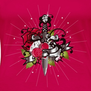 Pink Heart's blood-The heart,the rose and the dagger Tops - Women's Premium T-Shirt