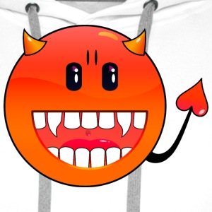 Blanc diable Emoticon / devil smiley (A1, DDP) T-shirts - Sweat-shirt à capuche Premium pour hommes