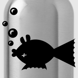 Black Toter Fisch / fish belly up (1c) Tops - Water Bottle