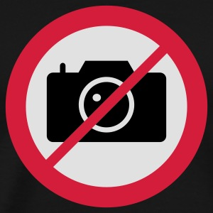 Olijfgroen Verkeersbord No Pictures Please T-shirts - Mannen Premium T-shirt