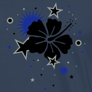 Petrol Hibiscus flower and stars Tops - Men's Premium T-Shirt