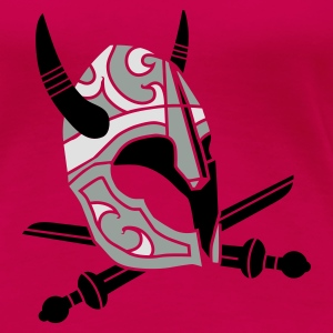 Pink Warriors with horned helmets and swords. Tops - Women's Premium T-Shirt