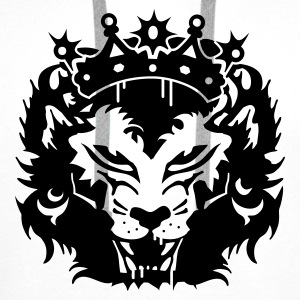 White The lion's head with crown Tops - Men's Premium Hoodie