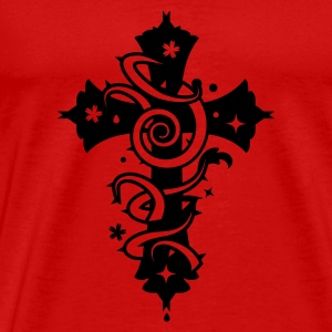 Red Cross with floral forms and thorns  Tops - Men's Premium T-Shirt