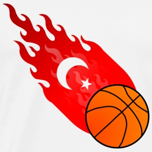 Wit Vuurbal Basketbal Turkije T-shirts - Mannen Premium T-shirt