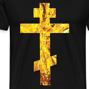 Schwarz Russisches Kreuz Orthodox Gold / Russian Cross T-Shirts - Männer Premium T-Shirt