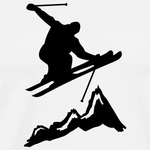 ski jump with mountains 2 T-shirts - Herre premium T-shirt