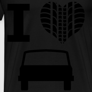 Tire Profile heart - I love cars - Men's Premium T-Shirt