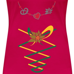Dirndl jewelry with pretzel, gingerbread heart and Edelweiss Tops - Women's Premium T-Shirt