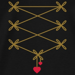 two ribbons with two heart pendant in corset optic Tops - Men's Premium T-Shirt
