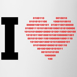 I LOVE - Binary heart - digital - black T-Shirts - Mug