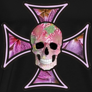 Iron Cross Flowers Skull - Men's Premium T-Shirt