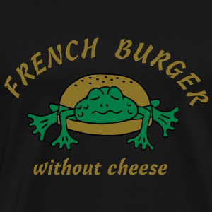 Froschburger French Burger Fastfood Frog ohne Käse without cheese Frankreich France T-shirts - Herre premium T-shirt