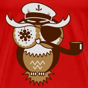An owl with captain's hat, eye patch and pipe tobacco Tops - Men's Premium T-Shirt