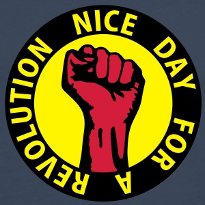 3 colors - nice day for a revolution - against capitalism working class war revolution Toppe - Herre premium T-shirt med lange ærmer
