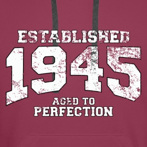 established 1945 - aged to perfection (fr) Débardeurs - Sweat-shirt à capuche Premium pour hommes