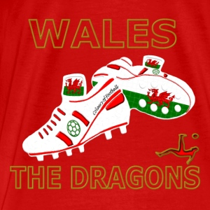 wales football boots white red gold Tops - Men's Premium T-Shirt