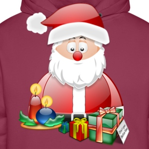 Father Christmas With Presents Candles Santa Christmas Scene - Men's Premium Hoodie