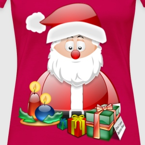 Father Christmas With Presents Candles Santa Christmas Scene - Women's Premium T-Shirt