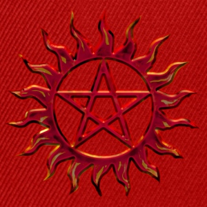 Pentagram - Blazing Star- Sign of intellectual omnipotence and autocracy. digital red, Star of the Magi , powerful symbol of protection Tops - Snapback Cap