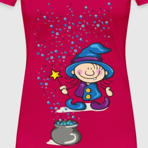 Little Witch with Hat and Wand Tops - Women's Premium T-Shirt