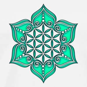 Fleur de Vie - Flower of life, Lotus - Flower, Heart Chakra, green, Symbol of perfection and  Débardeurs - T-shirt Premium Homme