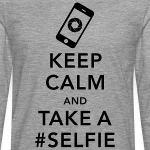 funny Keep calm take a selfie #selfie meme phone Tee shirts - T-shirt manches longues Premium Homme