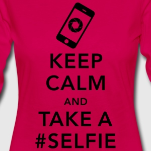 funny Keep calm take a selfie #selfie meme phone Tee shirts - T-shirt manches longues Premium Femme
