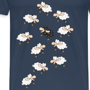 A large flock of sheep, with a little black sheep Tops - Men's Premium T-Shirt
