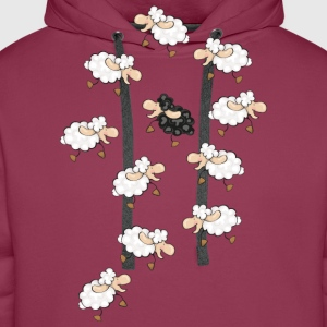 A large flock of sheep, with a little black sheep Tops - Men's Premium Hoodie
