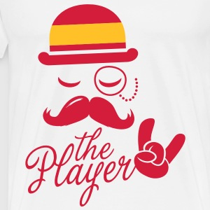 Spain retro gentleman sports player rock | olympics | football | Championship | Moustache | Flag European Tops - Men's Premium T-Shirt