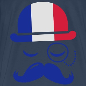 France fashionable retro iconic gentleman with flag | sports | olympics | football | Championship | Moustache Tops - Men's Premium T-Shirt