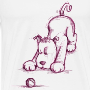 Little dog fights with the ball Tops - Men's Premium T-Shirt