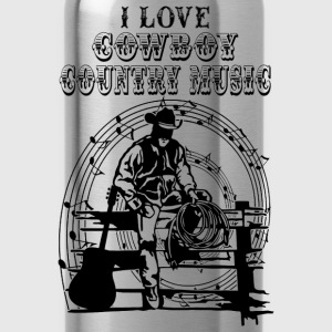 i love cowboy country music Tops - Water Bottle