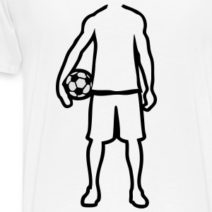 joueur foot soccer player trace dessin1 Tee shirts - T-shirt Premium Homme