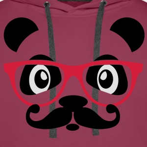 nerd panda with moustache and glasses Toppar - Premiumluvtröja herr