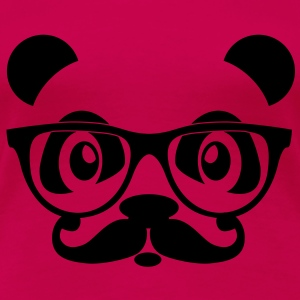 nerd panda with moustache and glasses Toppar - Premium-T-shirt dam