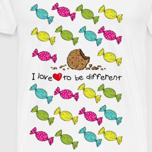 I love to be different- cookie Toppar - Premium-T-shirt herr